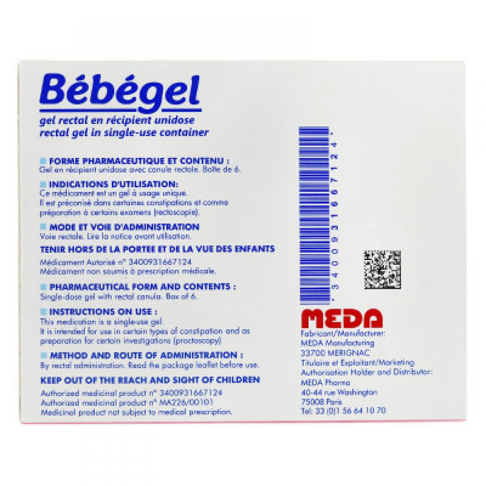 bébégel gel rectal - 6 unidoses