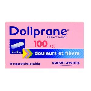 Doliprane 100mg - 10 suppositoires